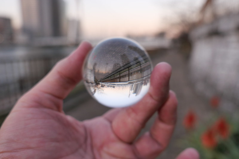 upsidedown world lens ball