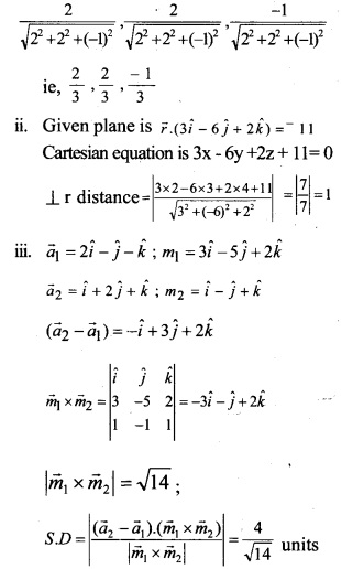 Plus Two Maths Chapter Wise Questions and Answers Chapter 11 Three Dimensional Geometry 33