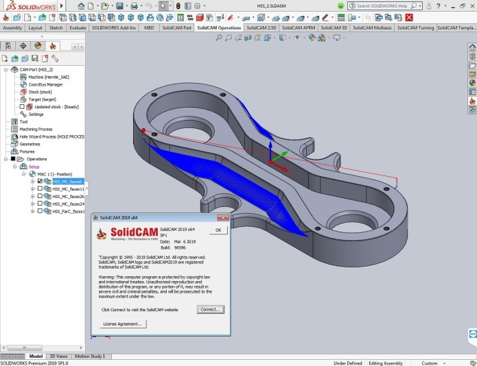 Working with SolidCAM 2019 SP1 for solidworks 2012-2019 full