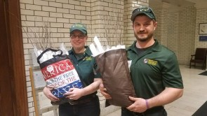 Photo of Maryland Forest Service staff delivering seedlings to the State House for Arbor Day 2019