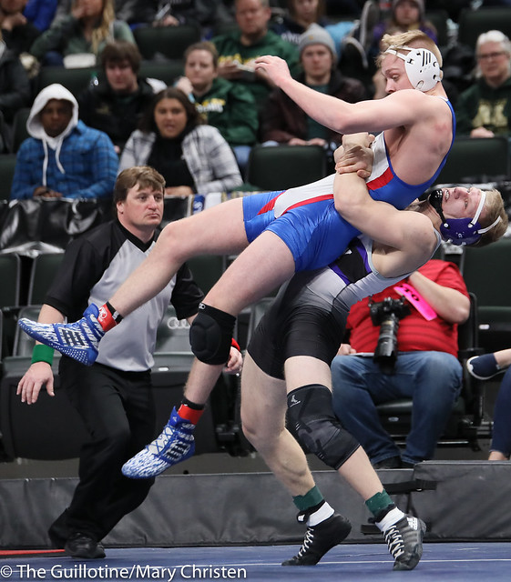 195AA Semifinal - Grant Parrish (Kasson-Mantorville) 29-5 won by decision over Gabe Zierden (Albany) 45-5 (Dec 15-10). 190302AMC3478