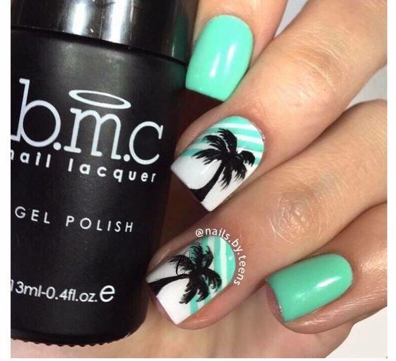 beautiful palm tree nail designs