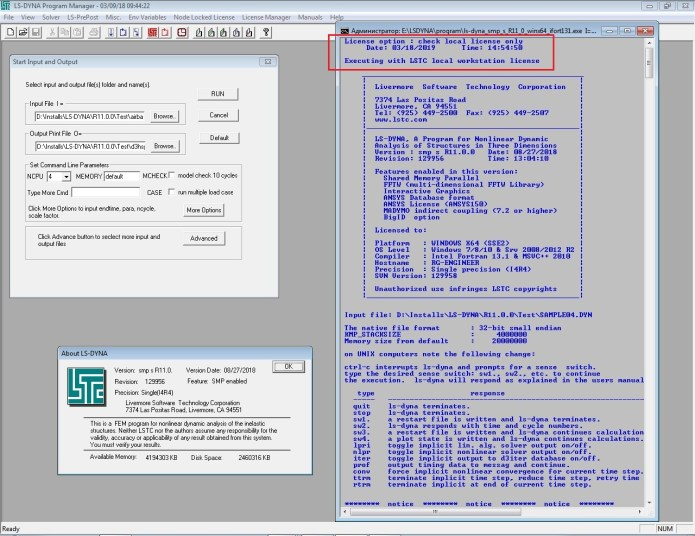 Working with LS-DYNA SMP R11.0.0 Win64 full license