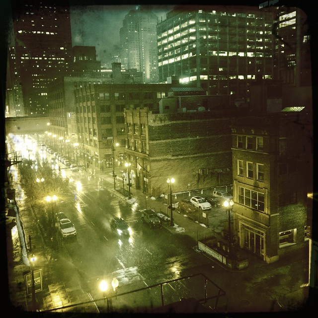 Weeping Rain, West Loop at Night