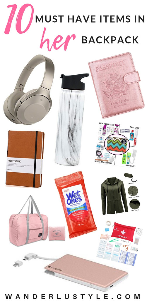 Must Have Items in Her Travel Backpack - Travel Backpack Must Have, Travel Bag, Travel Tips, Packing Tips, Carry On backpack, Carry On bag | Wanderlustyle.com