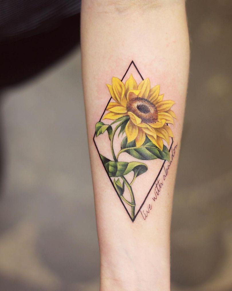 Astounding Ideas Tattoo Sunflower Style2 T