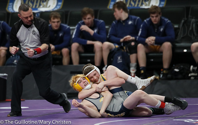 106 – Rameses Peterson (Totino-Grace) over Lewis Pieper (Mahtomedi) Fall 1:46. 190228amc1642