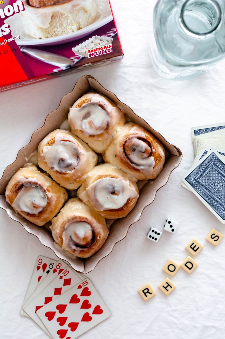 Rhodes Bake-N-Serve Anytime!® Cinnamon Rolls aren't just for breakfast. Bake up a box and make it a game night with Rhodes cinnamon rolls and chili.
