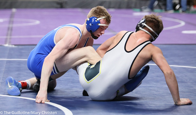 132AA 3rd Place Match - Cade Lundeen (Thief River Falls) 49-2 won by decision over Leighton Rach (Perham) 39-11 (Dec 5-1). 190302BMC3721