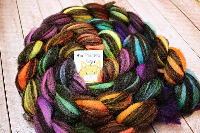 Crazy Paisley Jacob - February 2019 Tiger Fiber Spinning Club