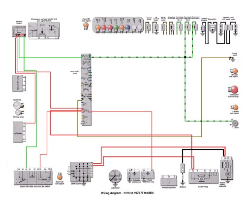 6 Series 1975-76: Brake Light & Horn Wiring [SOURCE: Haynes Manual]                                      --> CLICK TO ENLARGE