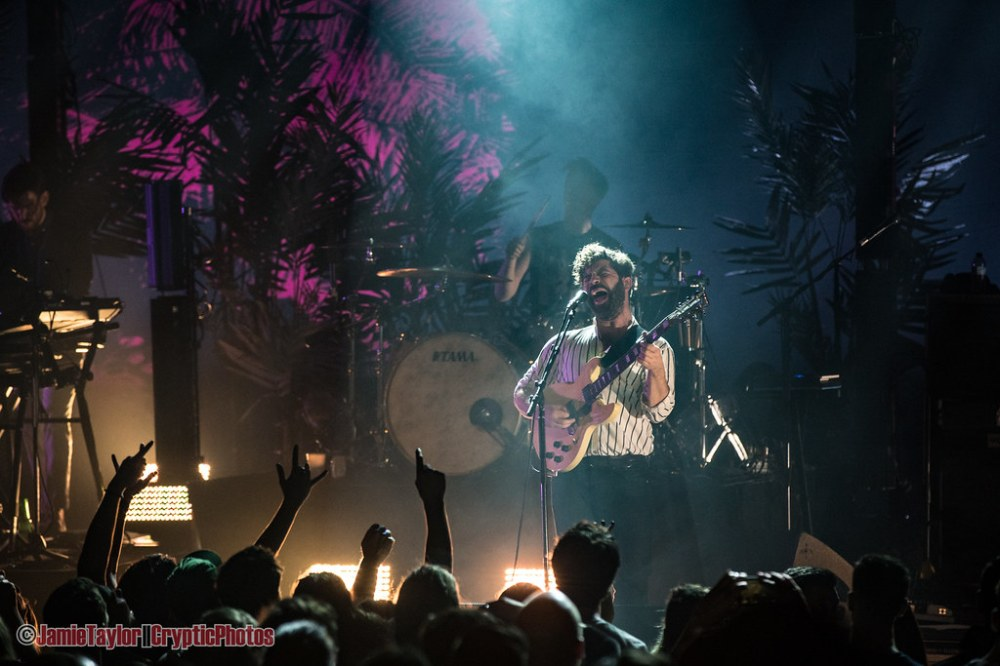 Singer Yannis Philippakis of Uk rock band the Foals performing at Orpheum Theatre in Vancouver, BC on March 18th 2019