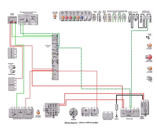 6 Series 1975-76: Starter Relay Power Wires [SOURCE: Haynes Manual]            --> CLICK TO ENLARGE