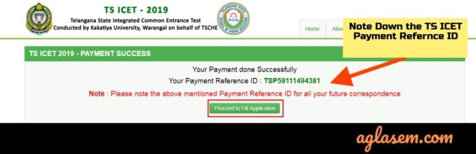 TS ICET 2019 Payment Reference ID