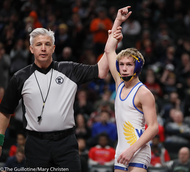 106AA 1st Place Match - Mason Gehloff (Waseca) 31-0 won by decision over Dylan Louwagie (Marshall) 40-9 (Dec 7-2) - 190302BMC4053