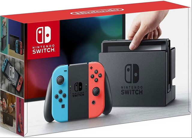 Nintendo Switch with Neon Red and Neon Blue Joy-Con image