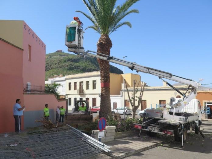 Hoy comenzaron las obras de acondicionamiento del espacio que albergará el busto de Ramón Jiménez, gran impulsor de la lucha canaria en Guía