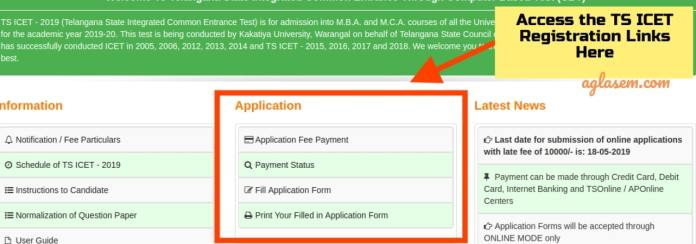 TS ICET 2019 Application Form Links