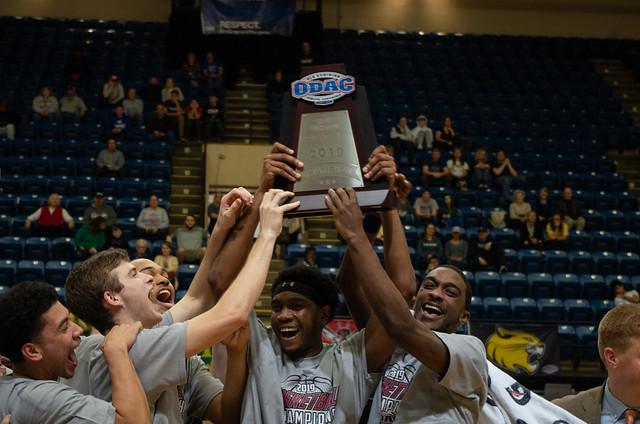 2019-02-24 Guilford Men's Basketball Celebrates (Andrew Walker '19)