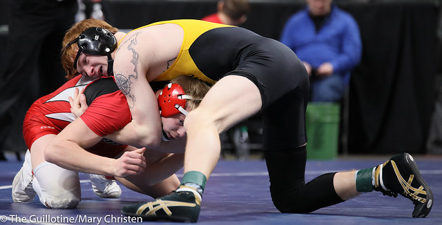 152AA Semifinal - Dylan Fudge (Perham) 44-7 won by decision over Miles Fitzgerald (Fairmont-Martin County West) 28-15 (Dec 3-1). 190302AMC3319
