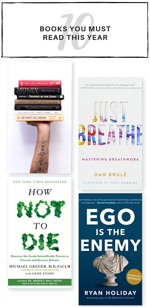 Books To Read This Year - How Not To Die by Michael Greger MD, Gene Stone, Smoke Signals by Martin A. Lee, Ask and it is Given by Esther and Jerry Hicks, Just Breath by Dan Brule, The Four Agreements by Don Miguel Ruiz, Mind to Matter by Dawson Church, Ego is the enemy by Ryan Holiday, The Science of Enlightenment by Shinzen Young, Meditations by Marcus Aurelius, How to change your mind by Michael Pollan