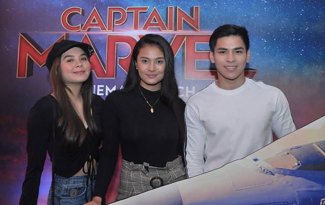 GMA Artists Ashley Ortega, Klea Pineda, and Joaquin Manansala attending Watsons Card's Exclusive Captain Marvel Screening
