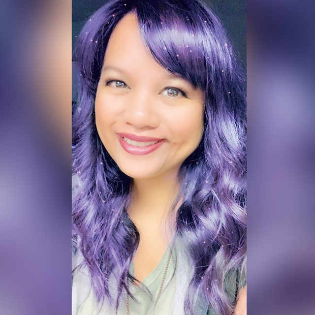 me with purple hair