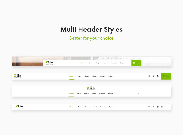 Leo Zlin - best prestashop tea shop theme - Mutiple Header Styles