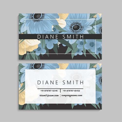 Floral business card design. Vintage flower pattern in modern style. .