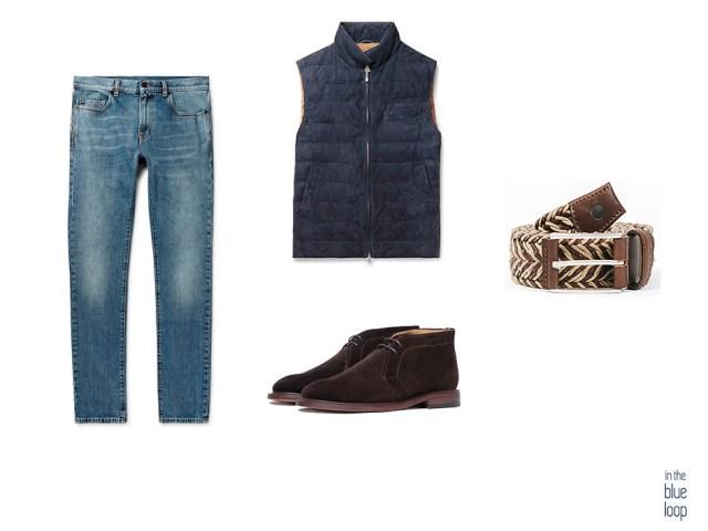 Look casual combinando cinturón sabina de blue hole men, con botas marrones, jeans y gilet o chaleco