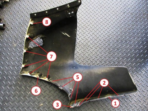 Location Of Fairing Mounting Hardware on Upper Side Panel