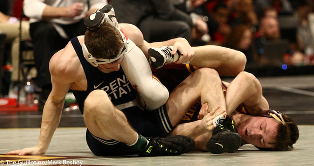 3rd Place Match - Nick Lee (Penn State) 27-2 won by major decision over Mitch McKee (Minnesota) 20-5 (MD 12-4) - 190310dmk0076