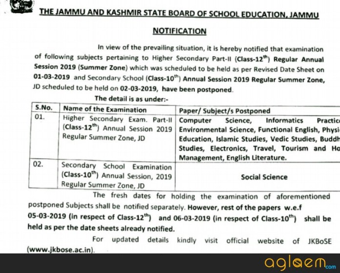 JKBOSE 12th date sheet 2019 Revised