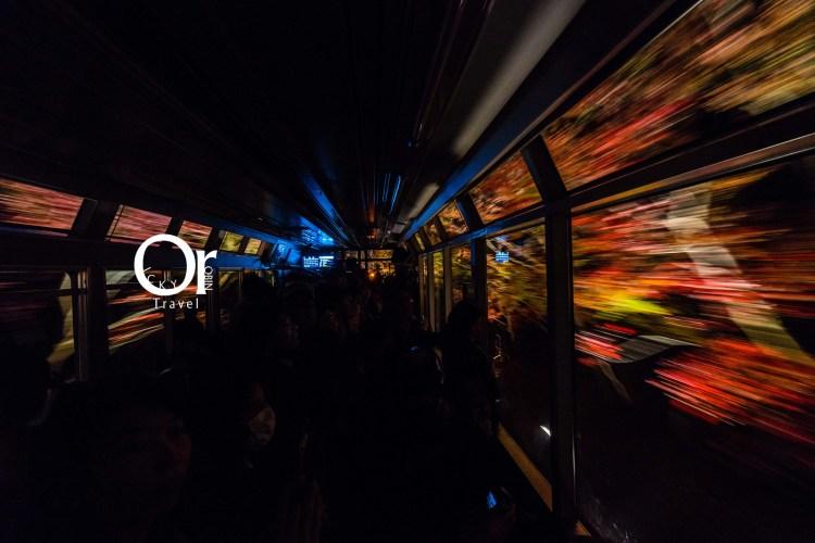 京都賞楓景點|叡山電車楓葉隧道,期間限定的夜楓列車,打燈後的夜楓有不同味道在,彷彿整個車廂都被楓葉包圍了