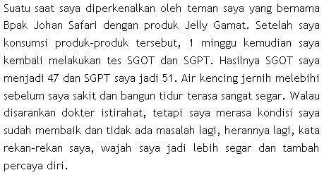 Testimoni QnC Jelly Gamat turunkan SGOT SGPT
