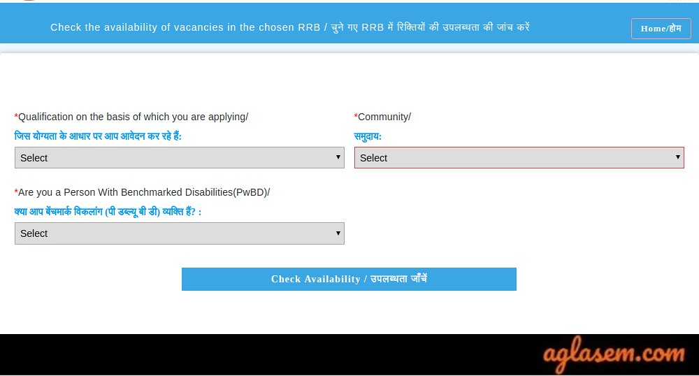 RRB NTPC 2019 Check Availability