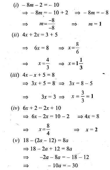 Selina Concise Mathematics Class 6 ICSE Solutions - Simple (Linear) Equations (Including Word Problems) - b3s