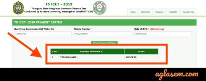 TS ICET 2019 Fee Payment status