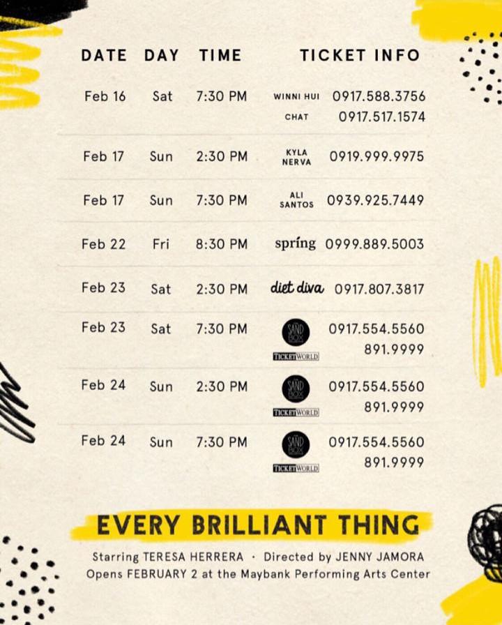 Every Brilliant Thing Feb 16-24