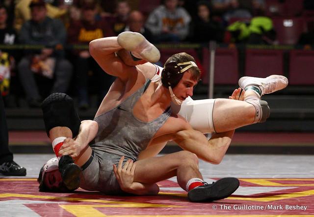 149: #19 Tommy Thorn (Minnesota) tech fall Pete Tedesco (Maryland) 16-1, 2:44. 190210BMK0024