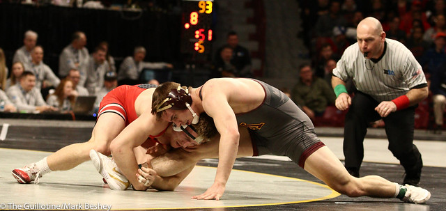 Quarterfinal - Kollin Moore (Ohio State) 18-1 won by major decision over Dylan Anderson (Minnesota) 13-8 (MD 12-4) - 1903amk0377