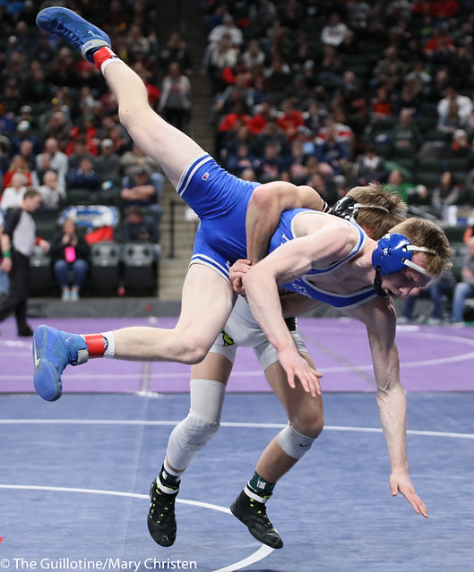 132AA 3rd Place Match - Cade Lundeen (Thief River Falls) 49-2 won by decision over Leighton Rach (Perham) 39-11 (Dec 5-1). 190302BMC3714