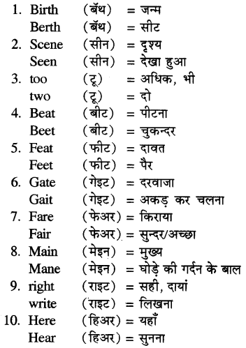 RBSE Solutions for Class 5 English Vocabulary Homophones 1