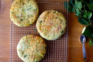 zucchini, ham, and ricotta fritters