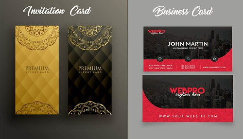 Flat Wedding Invitation Card Template