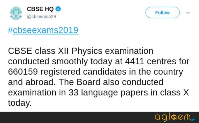 CBSE 12th Physics Exam 2019