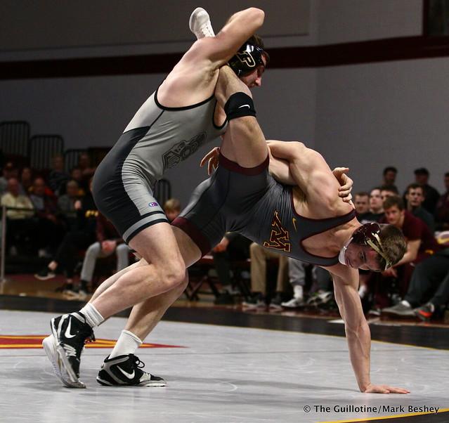 197 #12 Christian Brunner (Purdue) tech fall Dylan Anderson (Minnesota) 18-1. 190203AMK0275