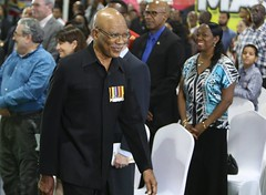 President David Granger cracks a smile. — at D'urban Park.