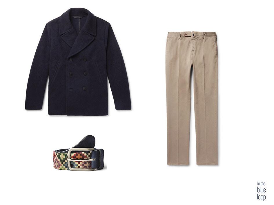 Look casual con abrigo peacoat 3 cuartos con chinos y cinturón tauce de blue hole