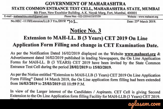 MH Law CET 2019 Application Form